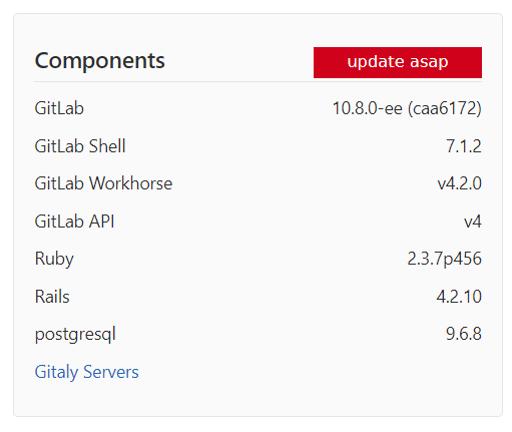 1回目のアップデート実行後のバージョン情報。10.8.0-eeと表示されています。