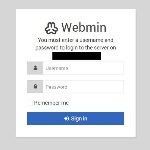 Webminのログイン画面にアクセスできることを確認