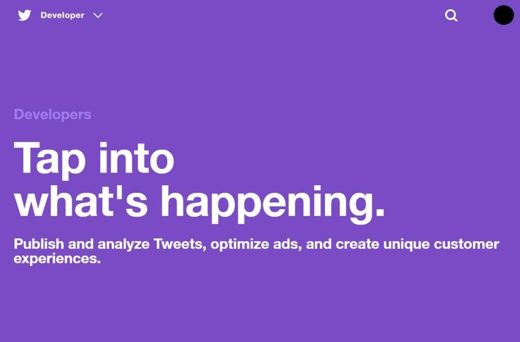 まずはTwitter Developer Platform — Twitter Developersにアクセス。
