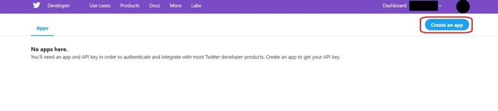 まだ何も無いので右上の「Create an app」をクリックして作成します。
