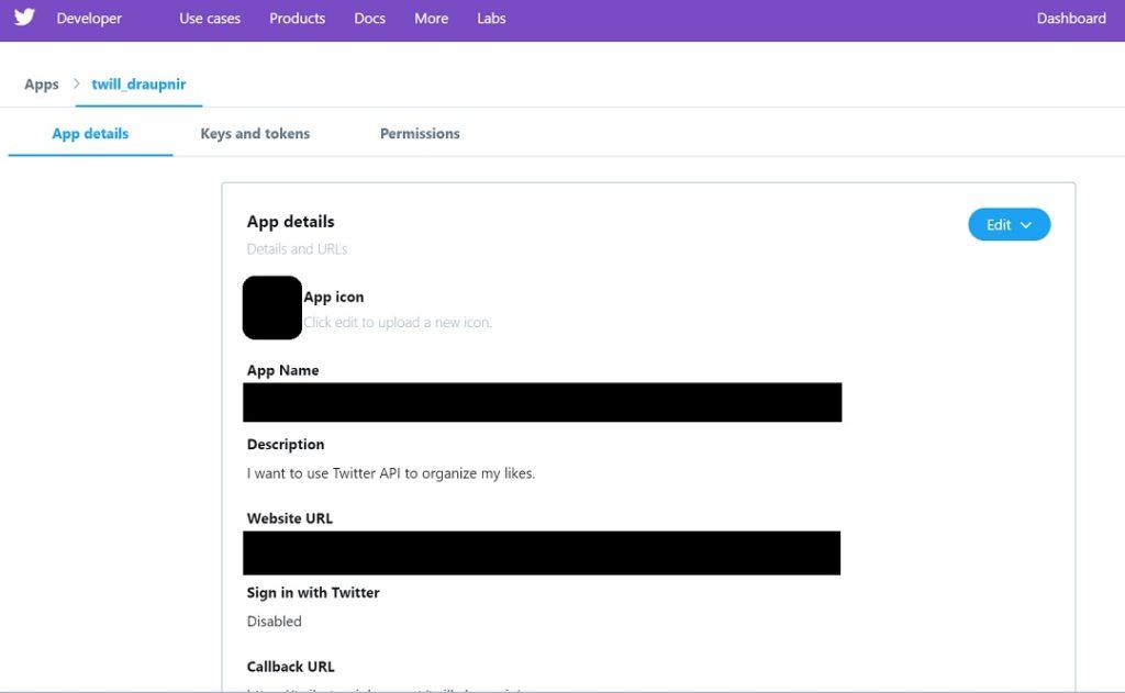 作成完了し、「App details」タブに情報が表示されます。