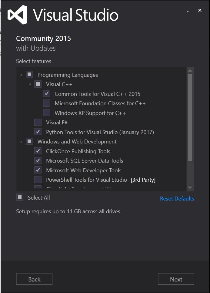 Visual Studio Community 2015をダウンロードし、ドキュメントと同じ項目をチェックしてインストール