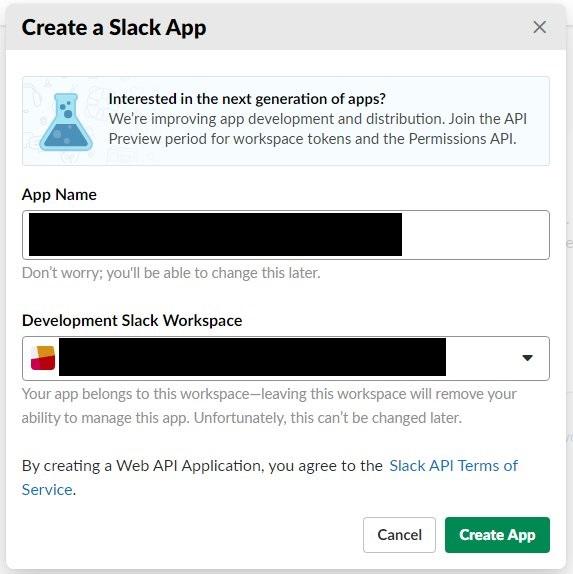 Slack アプリ新規作成
