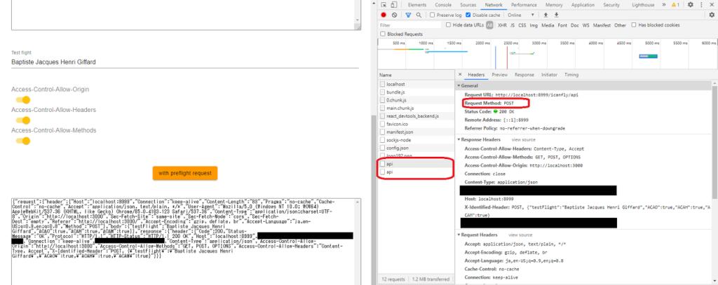 preflight request のサンプル。 Devtools で HTTPリクエスト が2回になっていることが確認できる。こちらは POSTメソッド なので本体の HTTPリクエスト 。