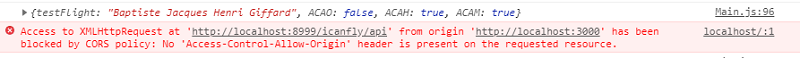 Access-Control-Allow-Origin がないために表示された console のログ