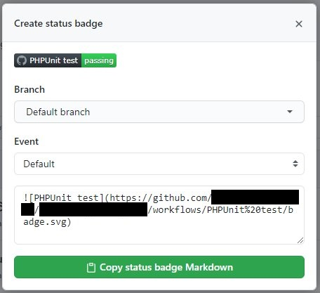 バッジの Markdownコード をコピペできるダイアログ